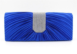 Wholesale IN STOCK Royal Blue Silk Rhinestones Bridal Clutch Evening Hand Bags Gorgeous Bridal Wedding Party Chain