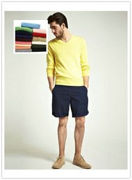 Wholesale the new men s fashion sweater collar v neck multi color optional size S xl