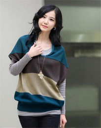 Wholesale New Arrival Women s V neck Knit Loose Bat Sleeve Top Pullover Sleeveless Wide Striped Jumper Sweater Knitwear Wine Blue