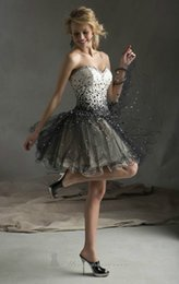 Wholesale 2015Lovely A Line Sweetheart Sleeveless Crystal Sequin Lace Up Knee LengthTulle White Black First Communion Dresses Size