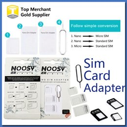 online shopping 4 In Noosy Nano Micro SIM Adapter Eject Pin For Iphone For Iphone S Samsung S4 S3 SIM Card Retail Box