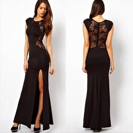 Wholesale 2015 Evening Dresses with Cap Sleeves Maxi Gown Side Cut Lace Side Slit Evening Dress Long Evening Gowns Prom Dresses Red Black two colors