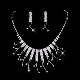 Wholesale Cheap Fashion Unique Wedding Bridal Bridesmaids Rhinestone Necklace Earrings Jewelry Set Prom Bridal Accessories