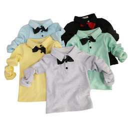 Wholesale 2015 Spring Boys Lapel T shirts with Bowtie Long Sleeve Solid Tshirt Pure Cotton Shirt Undershirt Kids Tops Children Clothing K3931