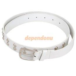 Wholesale Trendy Double Row RivetsWaistband Waist Belt Pants Belt for Woman White