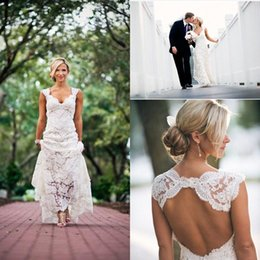 Wholesale Elegant Full Lace Pastoral style Sheath Wedding Dresses Ivory V neck Bridal Gowns Keyhole Back Beach Maternity Wedding Dress BO7557
