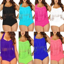 Wholesale 8 colors Sexy Padded up Plus Size Bikinis High Waist Bikini New Sexy Women Bikini Swimwear Swimsuits Tassels Bikini LJJD2273 sets
