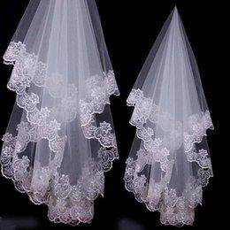 Wholesale White Ivory Lace Edge Bridal Veil Wedding Veils with Netting Laces Flower Single layer m m m m m
