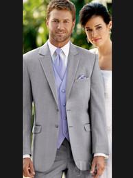 Wholesale Sexy Prata noivo smoking dois botões laterais Magro Best Man Wedding Suit Men Suits Groomsman Noivo Jacket Calças Tie Vest