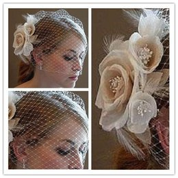 Wholesale Wedding Birdcage Veils Champagne Ivory White Flowers Feather Birdcage Veil Bridal Wedding Hair Pieces Bridal Accessories in Stock