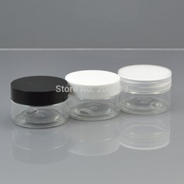 Wholesale 30G transparent PET cream bottle cosmetic container cream jar Cosmetic Jar with black or white or transparent lid