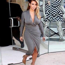 Wholesale 2015 Plus Size Sheath Kim Kardashian Beyonce Evening Dresses V Neck Tea Length Front Split Celebrity Dresses For Summer Women AN449