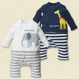 Wholesale Barboteuses Bébés garçons animaux Elephant Girafe barboteuses Blanc Marine coton à manches longues Romper Cartoon Vêtements bébé pour le printemps