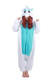 Wholesale Fast Delivery Blue Unicorn Onesie Unisex Animal Jumpsuit Flannel Pajamas Kigurumi Hoodies Costume Cosplay Sleepwear Homewear