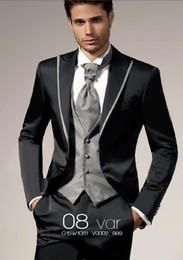 Wholesale Top Selling Black Customized Best Man Groom Tuxedos Slim Fit Wedding Party Suit Bridegroom Groomsman Suit Jacket Pants Tie Vest