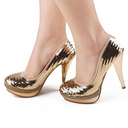 Wholesale Luxury Bride Wedding Shoes High heeled Lady Shoes Sequins Nightclub Prom Dresses Shoes DY113 Gold