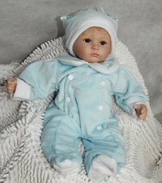 Wholesale 45cm Reborn Baby Doll Handmade Blue Cloth Doll Silicone Head Baby Home Doll