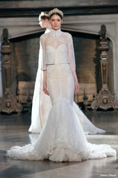 Wholesale 2015 New Inbal Dror Fall Winter Sexy Mermaid Wedding Dress Sweetheart Lace Appliques Beads Bridal Gown with Sheer Jacket Long Sleeve