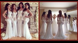 Wholesale Sexy White Bridesmaid Dress For Wedding Mermaid Sweetheart Strapless Sweep Train Evening Dress Lace Appliques Ladies Party Dress OH2002