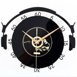 2016 unique diy clocks 3d home decoration diy wall clock headphone style wall clocks large stickers big unique diy wall clocks