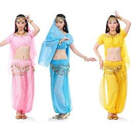 Wholesale 12set Top Lantern Pants Head Chain Veil Coins Belt Woman s Tribal Belly Dance Suit tc105s5