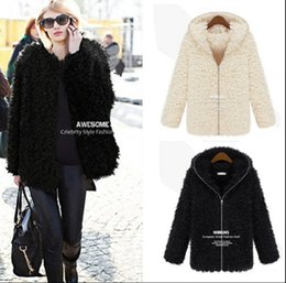 Wholesale 2016 New Hot Sell Europe and America Autumn Winter Les plus récents O Neck Faux Fur Collier Hoodies Vestes Tissu Femme Manteaux Courts Manteaux Manteaux