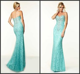 Wholesale Aqua Formal Prom Dresses Beaded Tulle Over Lace Sweetheart Sleeveless Zipper Back Mermaid Evening Party Dress Pageant Gowns