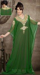 Wholesale 2015 New Arrival Green Chiffon Beading V Neck Long Sleeve Kaftan Arabic Dress Muslim Dubai Abaya Moroccan Kaftan Evening Dress