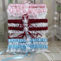 Wholesale Colors Sexy Pink Blue Flower Ribbon Wedding Garter Set Pearl Bridal Leg Garter Belt Lace Bride Accessories