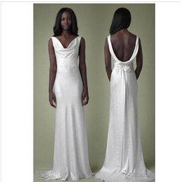 Wholesale 2015 Sexy Backless Party Prom Dresses Greek Goddess V neck Sheath Halter Style Beaded Elastic Satin Evening Gowns Wedding Dresses