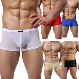 Wholesale 1 Men Male Sexy Mesh Transparent See Through Boxer Shorts Mens High Quality Underwear Panties Colors Size M XL