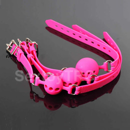 Wholesale Quality Pure Silicone Mouth Gag Ball Gags BDSM Gagging Restraint Gear Sex Bondage Play Accessory Black Pink Small Large B0302025