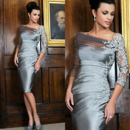 Wholesale Cheap Lace Appliqued Mother Of The Bride Gowns Sleeves Sheath Sheer Bateau Neckline Cocktail Dress Tea Length Taffeta Mother Groom Dresses