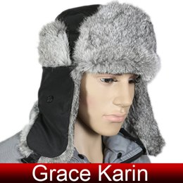 Wholesale Grace Karin Big Sale Fashion Men Winter Warm Aviator Trapper Bomber Real Rabbit Fur Hats CL5008