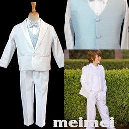 Wholesale The Flower Boy White and Blue Dress Suit Children Show Fashion Show Children Take Suits