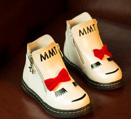 Wholesale Autumn Winter Children Warm Martin Short Boots With Bow Smile Face MMT Boy And Girls Winter Shoe Boots Colors White Black EC009