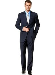 Wholesale Hot Selling Mens Pinstripe Navy Blue Button Suit Short Pleated Pants
