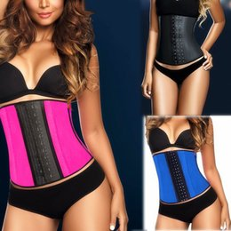 Wholesale 2015 Steel Boned Waist Trainer Rubber Latex Corset Deportiva Sport Latex Waist Cincher Corset Underwear Bustiers Slimming Body Shaper S XL