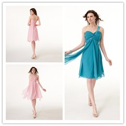 Wholesale 48 hour shipping In Stock Dresses One shoulder Prom Dresses Short prom dresses Chiffon size