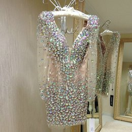 Wholesale Red Short Homecoming Dresses With Long Sleeves robe de cocktail Sexy Deep V Neck Open Back Sparkly Beads Rhinestone Party Dresses