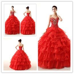 Wholesale 2015 Vintage Cheap Red Quinceanera Dresses Sweetheart Beading Corset and Tulle Debutante Gowns For Sweet Girls Masquerade Ball Gowns