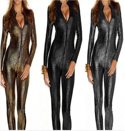 Wholesale Black Silver Gold Color Sexy Women Snakeskin Catsuit Zipper Costume Faux Leather Jumpsuit Party Sexy Dance Costume new arrive dorp shipping