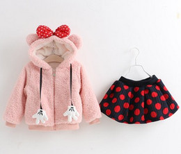 Wholesale 2015 Winter Children Girls Minnie Mouse Velvet Warm Long Sleeve Outwear With Bow Hat Skirt Outfits Kids Cute Cartoon Sets B3941