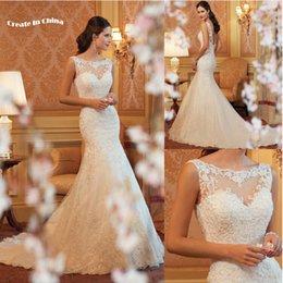 Wholesale Mermaid Wedding dresses Real Photo White Ivory Lace backless wed dress Two colors Bride Dresses Custom Made Vestidos De Noiva Em Renda