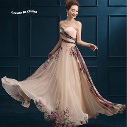 Wholesale 2016 new Printed chiffon strapless gown perfect waist slimming