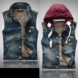 Denim Vest Hoodie Men Online | Denim Vest Hoodie Men for Sale