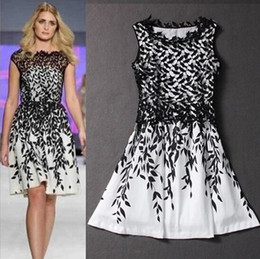 Wholesale Retail Fashion Women s Evening Dress Embroidery Lace Leaf Print dress Summer Tank Casual Dress Sleeveless for women Black White Dress