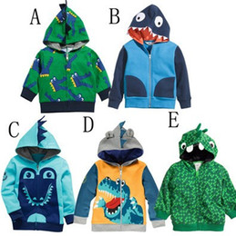 Wholesale Cartoo Dinosaur Children Hoodies Jacket Korean looped pile cotton zipper baby boys girls hoody coat kids clothing outwear TR81