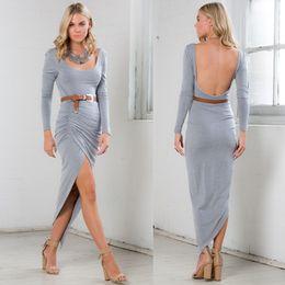 U neck maxi dress long sleeve
