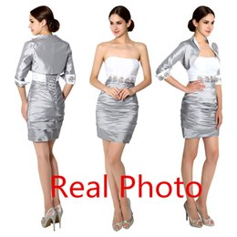 Wholesale Real Image In Stock Mother Of The Bride Dresses with Long Sleeve Jacket New Fashion Knee length Mother Of The Groom Dresses